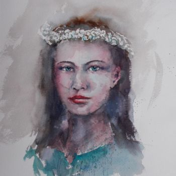 """Painting titled """"young girl 24"""" by Giorgio Gosti, Original Art, Watercolor"""