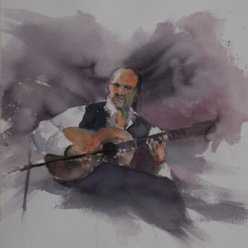 """Painting titled """"musician"""" by Giorgio Gosti, Original Art, Watercolor"""