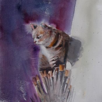 """Painting titled """"cat 2"""" by Giorgio Gosti, Original Art, Watercolor"""