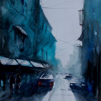 """Painting titled """"an imaginary city 49"""" by Giorgio Gosti, Original Art, Watercolor"""