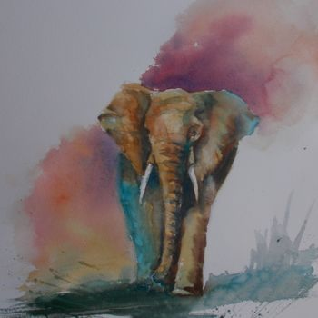 """Painting titled """"elephant 3"""" by Giorgio Gosti, Original Art, Watercolor"""