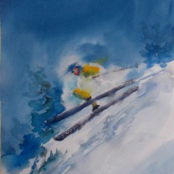 """Painting titled """"the skier 3"""" by Giorgio Gosti, Original Art, Watercolor"""