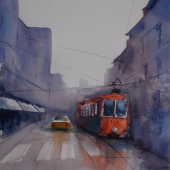 """Painting titled """"tram in Milan 17"""" by Giorgio Gosti, Original Art, Watercolor"""