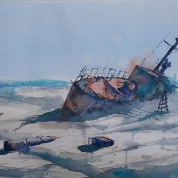 """Painting titled """"ship wreck"""" by Giorgio Gosti, Original Art, Watercolor"""