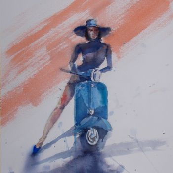 """Painting titled """"Vespa and woman"""" by Giorgio Gosti, Original Art, Watercolor"""