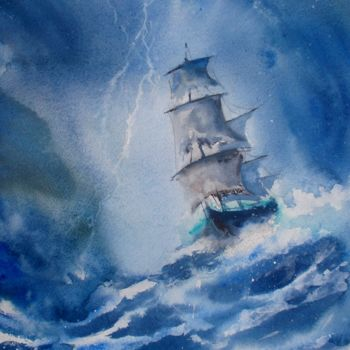 """Painting titled """"sailing ship in the…"""" by Giorgio Gosti, Original Art, Watercolor"""