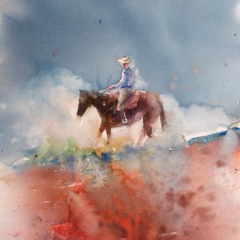 """Painting titled """"cowboy 3"""" by Giorgio Gosti, Original Art, Watercolor"""