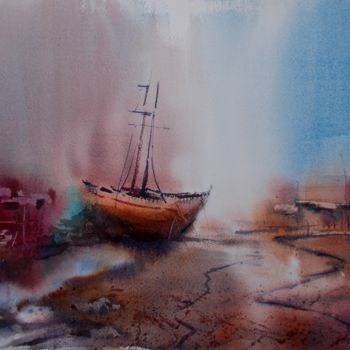 """Painting titled """"boat stranded 10"""" by Giorgio Gosti, Original Art, Watercolor"""