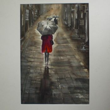 """Painting titled """"cappotto rosso"""" by Giorgio Gosti, Original Art, Watercolor"""