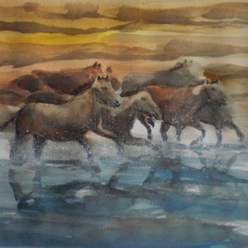 """Painting titled """"horse race"""" by Giorgio Gosti, Original Art, Watercolor"""