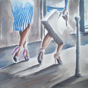 """Painting titled """"shopping"""" by Giorgio Gosti, Original Art, Watercolor"""