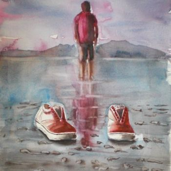 """Painting titled """"red shoes"""" by Giorgio Gosti, Original Art, Watercolor"""