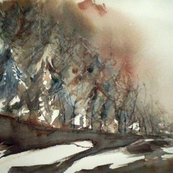 """Painting titled """"snow in the mountain"""" by Giorgio Gosti, Original Art, Watercolor"""
