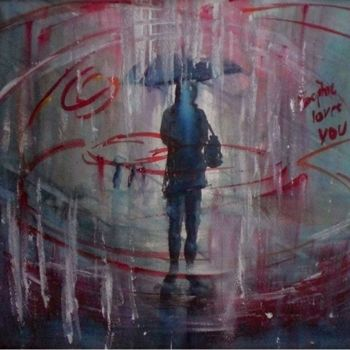 """Painting titled """"the rain"""" by Giorgio Gosti, Original Art, Watercolor"""