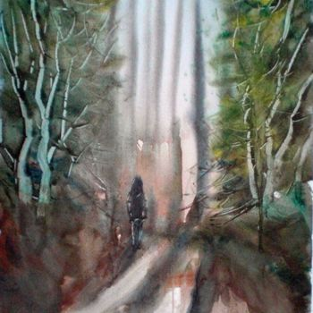 """Painting titled """"lost in the wood"""" by Giorgio Gosti, Original Art, Watercolor"""