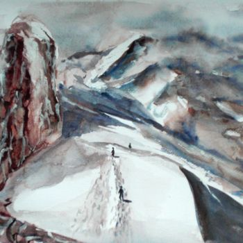 """Painting titled """"walk on the mountai…"""" by Giorgio Gosti, Original Art, Watercolor"""