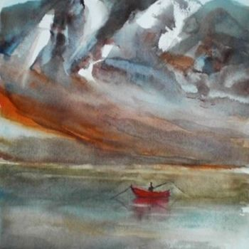"""Painting titled """"red boat"""" by Giorgio Gosti, Original Art, Watercolor"""