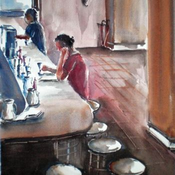 """Painting titled """"drink alone"""" by Giorgio Gosti, Original Art, Watercolor"""