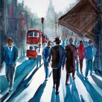 """Painting titled """"Walking people 2"""" by Giorgio Gosti, Original Art, Watercolor"""