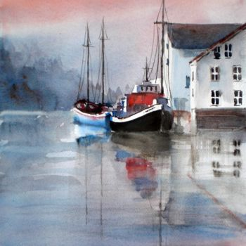 """Painting titled """"boats and houses"""" by Giorgio Gosti, Original Art, Watercolor"""
