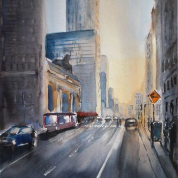"""Painting titled """"sunset in New York"""" by Giorgio Gosti, Original Art, Watercolor"""