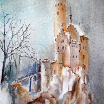 """Painting titled """"the rock"""" by Giorgio Gosti, Original Art, Watercolor"""