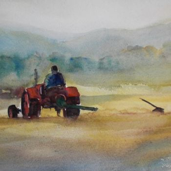 Countryside Painting, watercolor, figurative, artwork by Giorgio Gosti