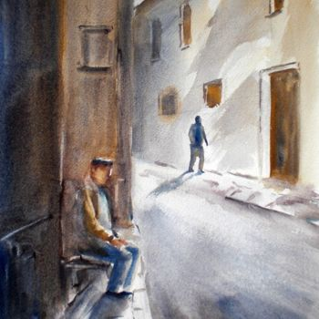 """Painting titled """"alone man"""" by Giorgio Gosti, Original Art, Watercolor"""