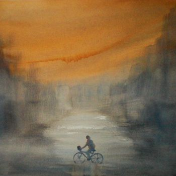 """Painting titled """"riding"""" by Giorgio Gosti, Original Art, Watercolor"""