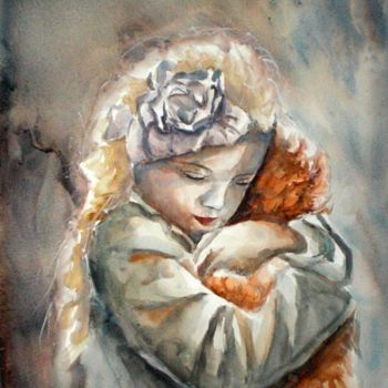 """Painting titled """"I love my teddy"""" by Giorgio Gosti, Original Art, Watercolor"""