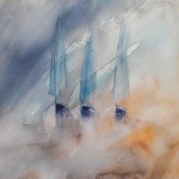 """Painting titled """"boats in the storm"""" by Giorgio Gosti, Original Art, Watercolor"""
