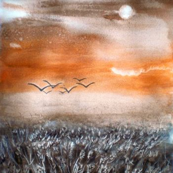 """Painting titled """"wheat field"""" by Giorgio Gosti, Original Art, Watercolor"""