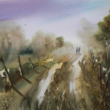 """Painting titled """"The path"""" by Giorgio Gosti, Original Art, Watercolor"""