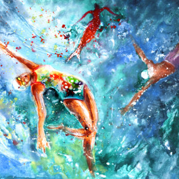 Dance Painting, watercolor, expressionism, artwork by Miki De Goodaboom