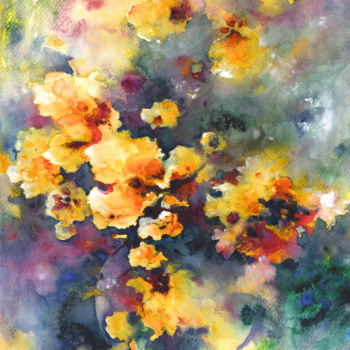 Flower Painting, watercolor, expressionism, artwork by Miki De Goodaboom