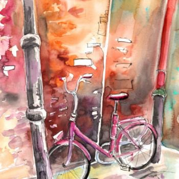"""Painting titled """"Cycling in Italy 02"""" by Miki De Goodaboom, Original Art, Watercolor"""