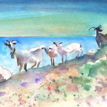 """Painting titled """"Goats in Agia Galini"""" by Miki De Goodaboom, Original Art, Oil"""