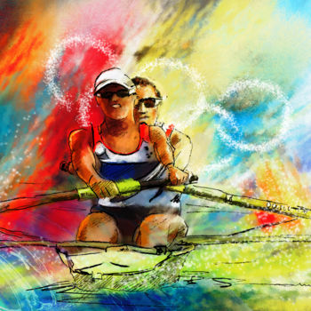 """Painting titled """"Olympics Rowing 03"""" by Miki De Goodaboom, Original Art, Oil"""