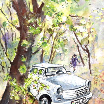 """Painting titled """"A White Trabant In…"""" by Miki De Goodaboom, Original Art, Watercolor"""