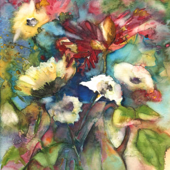 Flower Painting, ink, expressionism, artwork by Miki De Goodaboom