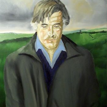 """Painting titled """"Poet Ted Hughes in…"""" by Reginald Gray, Original Art, Oil"""