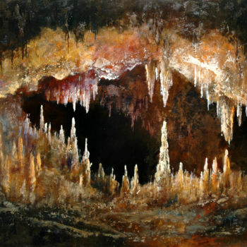 """Painting titled """"In the cave / Dans…"""" by Gyorgy Lantos (Hu), Original Art, Oil"""
