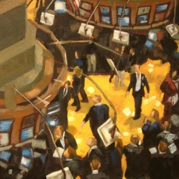 """Painting titled """"New York Stock Exch…"""" by Gloria Nilsson, Original Art, Oil"""