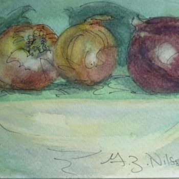 """Painting titled """"Onions"""" by Gloria Nilsson, Original Art, Ink"""