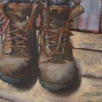 """Painting titled """"Tired Boots"""" by Gloria Nilsson, Original Art, Oil"""