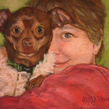 """Painting titled """"Amy and Me"""" by Gloria Nilsson, Original Art, Oil"""