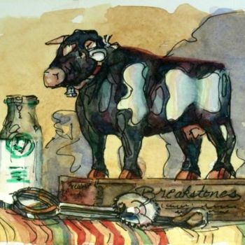 """Painting titled """"Charming Country Cow"""" by Gloria Nilsson, Original Art, Oil"""