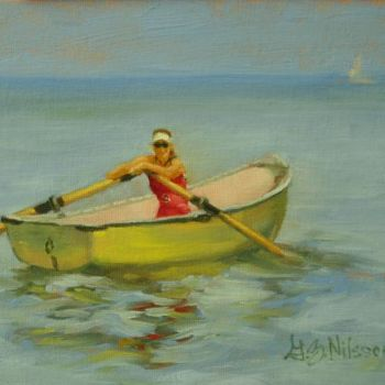 """Painting titled """"Rower at Rest"""" by Gloria Nilsson, Original Art, Oil"""