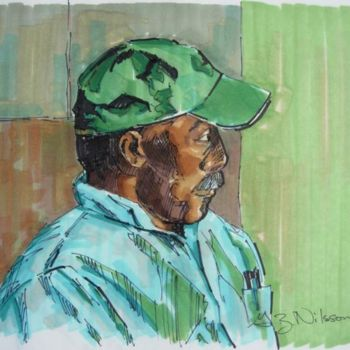 """Painting titled """"Man with Green Cap"""" by Gloria Nilsson, Original Art, Oil"""