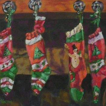 """Painting titled """"The Stockings"""" by Gloria Nilsson, Original Art, Oil"""